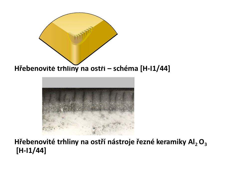 Hřebenovité trhliny na ostří – schéma [H-I1/44] Hřebenovité trhliny na ostří nástroje řezné keramiky Al2 O3 [H-I1/44]